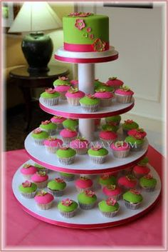 "Change to: White cake topper with small lime and pink accents. Cupcakes made by family, Laura's pistachio ""lime green"", pink could be a mix of vanilla and chocolate"