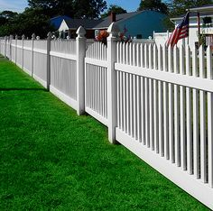 """V401N-4 """"GOOD NEIGHBOR FENCE"""" WITH MATCHING UNI-WELD VINYL GATE ILLUSIONS VINYL FENCE WITH 7/8"""" X 1-1/2"""" STRAIGHT CONTEMPORARY """"THROUGH-RAIL"""" PICKETS WITH FRENCH GOTHIC POST CAPS.  Shown in Illusions Classic Series White (C101)"""