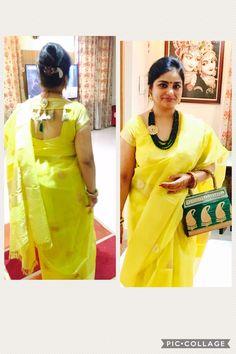 Nice blouse neck Brocade Blouse Designs, Blouse Neck Designs, Blouse Patterns, Blouse Styles, Blouse Models, Dress Models, Stylish Blouse Design, Salwar Designs, Indian Designer Wear