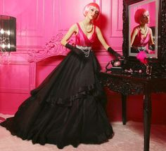 Colorful Pink and Black Wedding Dresses