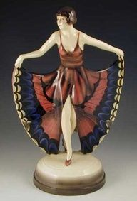 Goldscheider Lorenzl Art Deco Ceramic Figurine - Butterfly Dancing Girl