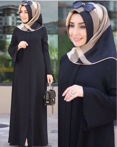 College outifit with hijab/hijab fashion for everyday/hijab dress style Hijab Style Dress, Hijab Chic, Abaya Fashion, Fashion Dresses, Moslem Fashion, Modele Hijab, Mode Abaya, Hijab Trends, Abaya Designs