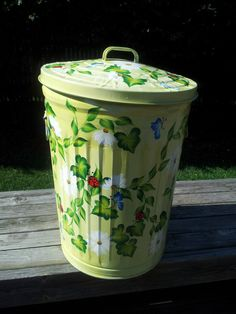 decorative hand painted 20 gallon galvanized metal can wside