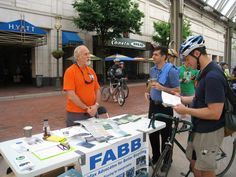 The Fairfax Advocates for Better Bicycling (FABB) table at Reston Town Center's Bike to Work Day pitstop on May 18, 2012