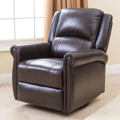 Abbyson Elena Leather Swivel Glider Recliner - Brown - SK-1343-BRN