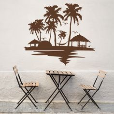 Beach and palm trees Wall Art Decal (24in x 21in )