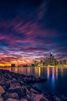 https://flic.kr/p/phVt85 | Detroit River Sunset LE | Long Exposure of the post sunset glow over the Detroit RIver. A bit of a different treatment with bluer shadows, tealish highlights.