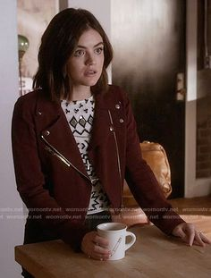 Aria's embellished top and red moto jacket on Pretty Little Liars. Outfit Details: https://wornontv.net/59246/ #PLL