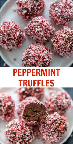 For a sweet indulgent holiday treat, try these peppermint truffles. They are smooth, indulgent and perfect for any holiday season cookie exchange. via AClassicTwist PeppermintTruffles ChristmasDesserts PeppermintDesserts Mini Desserts, Holiday Baking, Christmas Desserts, Delicious Desserts, Yummy Food, Christmas Snacks, Christmas Cooking, Holiday Treats, Holiday Recipes