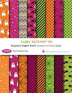 Digital Scrapbooking Paper Pack - Happy Halloween by DreamingOnAStar with FREE Washi Tape