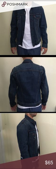 Levi's Dark Denim Jacket - Like New! Dark Denim Levi's Jacket. Like new, only worn a few times. Men's size small and I wore it as oversized denim jacket but looks great on either men or women! Levi's Jackets & Coats Jean Jackets