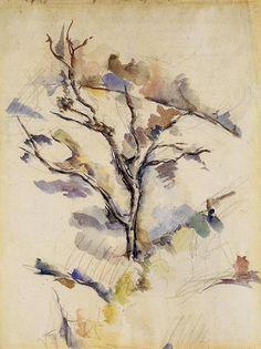 Paul Cezanne >> Watercolour >> The Oak