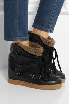 Shoes | Wedges | Isabel Marant | Nowles shearling-lined leather concealed wedge boots | NET-A-PORTER.COM