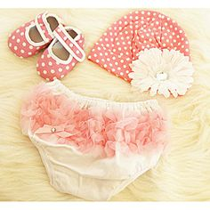 @Overstock - Set includes: Flower adorned hat, ribbon embellished crib shoes, and bloomers  Color options: pink/white  Materials: Cotton, polyester, metalhttp://www.overstock.com/Baby/Pink-Polka-Dot-Baby-Girls-Gift-Set/6385863/product.html?CID=214117 $29.00