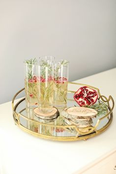 A Holiday Cocktail & DIY Wooden Coasters - theglitterguide.com