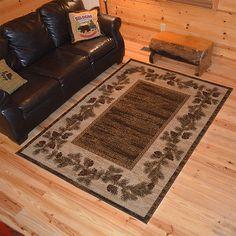 Lodge Cabin Rustic Pinecone Brown Area Rug *FREE SHIPPING*