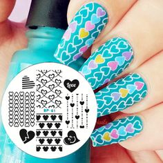 Love Heart Nail Art Stamping Template Image Plate BORN PRETTY Nail Stamp Plates Decoration Tools BP61
