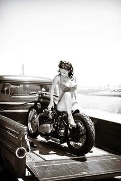 ..victory curls, on a vintage bike, in a vintage truck!