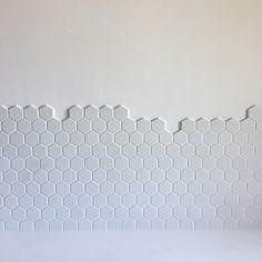 White hexagon kitchen splashback
