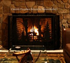 Custom #fireplace screens by NatureRails. Any design, size and color. Professional artist on staff. Great for home #cabin or #lodge. Visit www.naturerails.com for more ideas.
