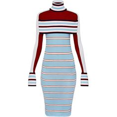 STRIPED TURTLE NECK KNIT DRESS WITH BAND ($2,400) ❤ liked on Polyvore featuring dresses, striped knit dress, blue turtleneck dress, turtle neck dress, knit turtleneck and blue dress