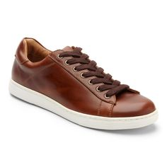 Vionic Mott Baldwin - Men's Leather Lace-up Shoe. The Mott Baldwin leather lace-up is the ultimate weekender (and a great Casual Friday option, too). With a low-profle cupsole silhouette and waxed laces, this polished sneaker goes the extra mile. Brown Leather Sneakers, Dark Brown Leather, Leather And Lace, Leather Men, Lace Up Shoes, Me Too Shoes, Men's Shoes, Shoe Sites, Business Outfits
