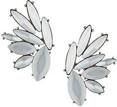 White Stone Petal Earring
