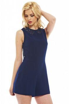 Women's Blue Short Dress Long Sleeve Lace with Deep V Back   Blue ...