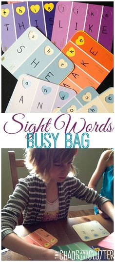 Paint Chip Sight Word Busy Bag (Small Group or Centers) Learning Sight Words, Sight Word Games, Sight Word Activities, Literacy Activities, Activities For Kids, Learning Letters, Literacy Centers, Educational Activities, Kindergarten Literacy