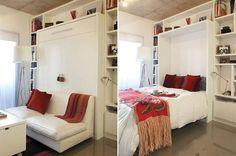 Seis ideas para ahorrar espacio en tu monoambiente  Una cama rebatible te ofrece una solución dinámica para convertir un mismo ambiente en sala de estar o área de descanso, según el momento del día.         Foto:Archivo LIVING