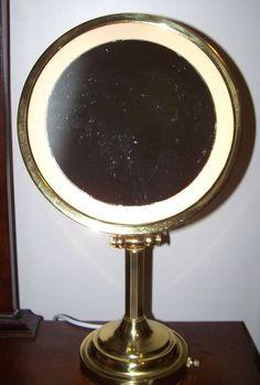 $65 TonJon Rotating Brass Nova Lighted Magnifying Makeup Mirror Free Shipping