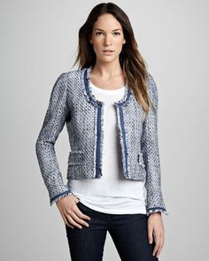 Solid-Trim Boucle Blazer at CUSP. Have always loved this look and I like this reinterpret hitting at a shorter length, making it modern.