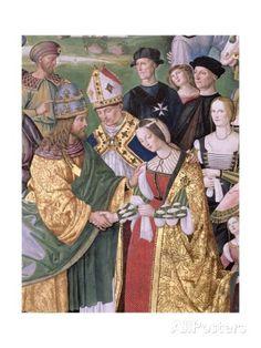 Enea Silvio Piccolomini (1405-1464) presenta Eleonora d'Aragona a Federico III (1415-1493), ...   Per: Bernardino di Betto Pinturicchio -