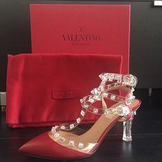 Valentino Rockstuds T-Strap Lucite Heel Pump