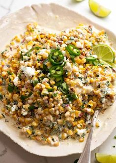 Overhead photo of Mexican Corn Salad Mexican Corn Salad, Mexican Dishes, Mexican Food Recipes, New Recipes, Vegetarian Recipes, Cooking Recipes, Healthy Recipes, Ethnic Recipes, Healthy Meals