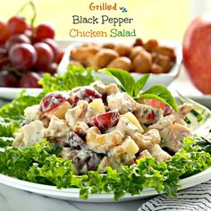 Grilled Black Pepper Chicken Salad is full of flavor, texture and tastes; grapes, apples, cashews & chicken. Serve as a sandwich, salad, appetizer or dip.