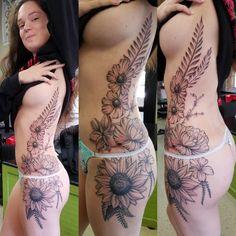 Flowers free hand tattoos by jeff Ziozios at Bay City Tattoo in Tampa #tattoo #tattooshop #ybor #flower #flowertattoo #freehand #freehandtattoo #sunflower #sunflowertattoo #fern #ferntattoo #blackeyedsusan #cherryblossom #tattoobyjeffziozios #inkstagram #girlswithtattoos #tampa #yborcity