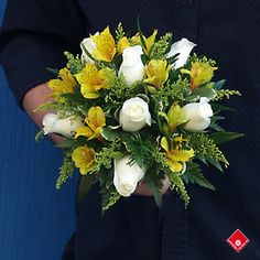 Alstroemerias and roses in a maid of honor bouquet - The Flower Pot.