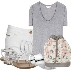 """""""Floral Draw String Purse Gray & Peach"""" by debpat on Polyvore"""