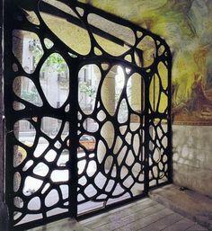 Wrought iron entrance door Casa Mila (Barcelona) by Antoni Gaudi