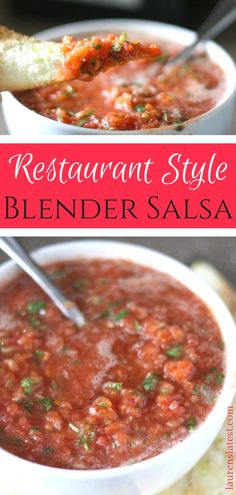 Best Restaurant Style Blender Salsa - This quick fresh Salsa Recipe is so fresh and easy to make! You only need a few basic ingredients and 10 minutes. Adapt as you like and serve with my homemade lime tortilla chips easy dinners Healthy Recipes, Gourmet Recipes, Appetizer Recipes, Mexican Food Recipes, Cooking Recipes, Healthy Food, Mexican Style Salsa Recipe, Apple Recipes, Cooking Ideas