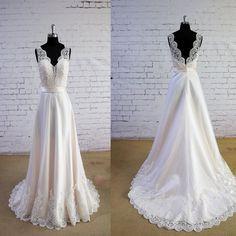 Special Wheat Color Wedding Dress V-Neck Wedding Dress V-Back Lace A-line Bridal Gown Wedding Dresses, WD0023