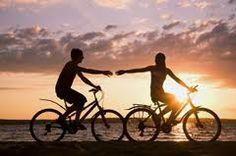 Biking at the sunset