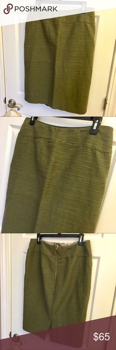 "{Anthropologie } Olive Green Pencil Skirt Anthropologie brand Moulinette Souers Pencil Skirt. Size 16. Length: 26"" w/ 6"" slit. Gorgeous muted olive green color. Sumptuous woven look in cotton linen fabric. Pairs beautifully w/ boots & cashmere sweater to soften the look. Fully lined in polyester with patterned lining at top of waste as shown.  **Color is true olive green and best depicted in last pic Anthropologie Skirts Pencil"