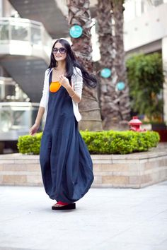 Graceful Navy Blue Vest Shape Sweep Long Dress by Sophiaclothing, $99.99