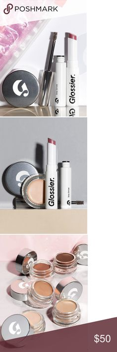 New Glossier Phase 2 Set plus Moisturizer New Glossier Phase 2 Set packaged in Glossier's trademark lidded box, including the following: 1) Stretch Concealer in Medium; 2) Boy Brow in Brown; 3) Generation G sheer matte lip in Like; 4) sample spray vial of Glossier's new fragrance, You; full-size Glossier Priming Moisturizer; and 6) sheer pink makeup bag with slide zip closure.  Separately these products retail for $74.  A great gift for someone or for yourself. Glossier Makeup