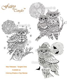 Fairy Tangles: New Fairy Tangles Release - OWLS Available as Coloring Sheets or Digi Stamps