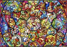 """Jigsaw Puzzles 2000 Pieces """"Disney Art Stained"""" / Disney / Tenyo....NOW THAT'S A REAL CHALLENGE!"""