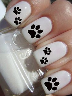 Puppy Paw Print Nail Decals by PineGalaxy on Etsy Más Cute Nail Art, Cute Nails, Pretty Nails, Dog Nail Art, Paw Print Nails, Nails For Kids, Dog Nails, Nail Decals, Fabulous Nails