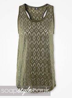 EastEnders Lauren Branning // Jacqueline Jossa // Lauren's Green Aztec Vest - 12th August '13 [ Click photo for details ▸▸ ]